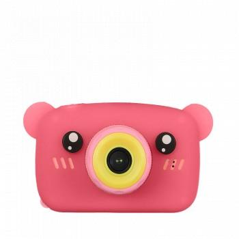 Детский фотоаппарат Fun Camera Bear со встроенной памятью и играми (розовая)