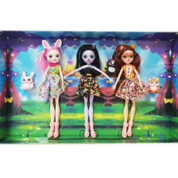 Набор 3 куклы со зверьками Энчантималс (26см)