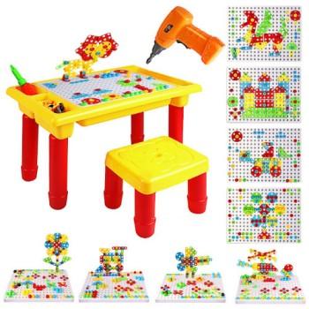 Конструктор с шуруповертом, столом и стулом Creative Learning Table 263 деталей