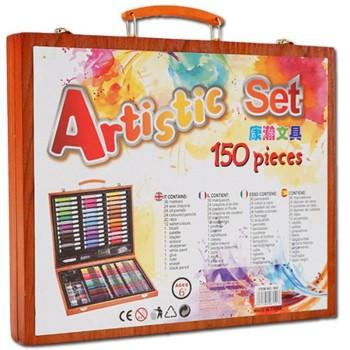 Художественный набор в деревянном чемоданчике, 150 предметов