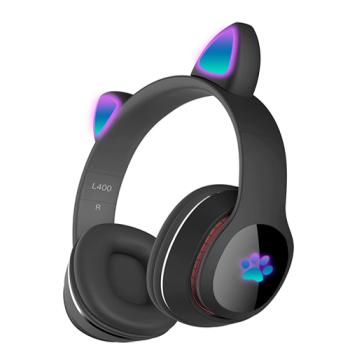 Детские беспроводные наушники Cat Ear Headphones - L400 с кошачьими ушками, лапки светящиеся. Черные