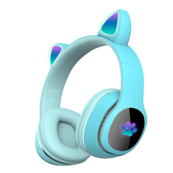 Детские беспроводные наушники Cat Ear Headphones - L400 с кошачьими ушками, лапки светящиеся. Светло-Голубые