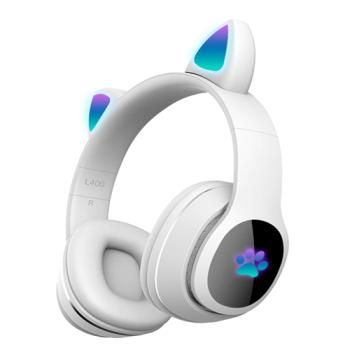 Детские беспроводные наушники Cat Ear Headphones - L400 с кошачьими ушками, лапки светящиеся. Белые